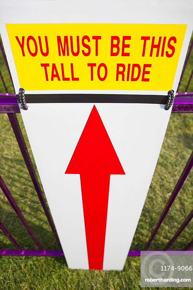 Height Requirment Sign In Front Of Amusement Park Ride, Tigard, Oregon, United States