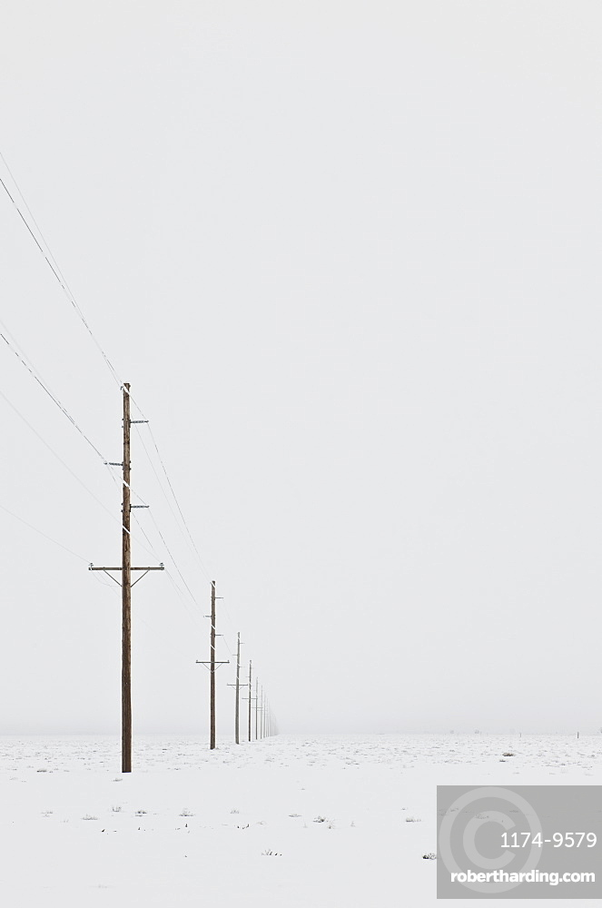 Power lines in snowy wintry landscape with grey sky