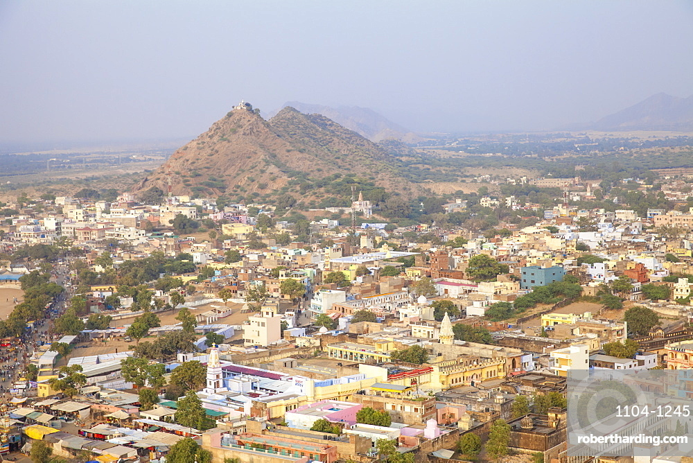 Aerial view of Pushkar Camel Fair, Pushkar, Rajasthan, India, Asia