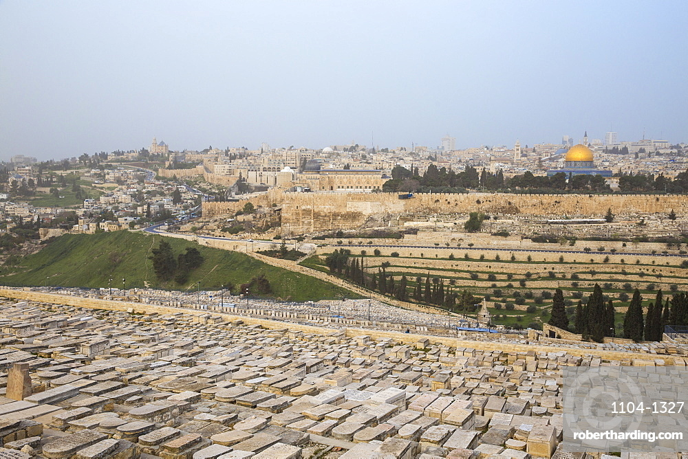 View of Mount of Olives and Dome of the Rock, Jerusalem, Israel, Middle East