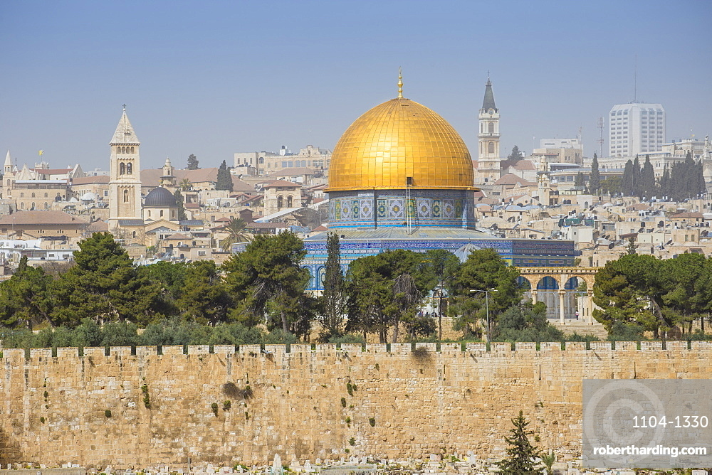View of Dome of the Rock, Old City, UNESCO World Heritage Site, Jerusalem, Israel, Middle East