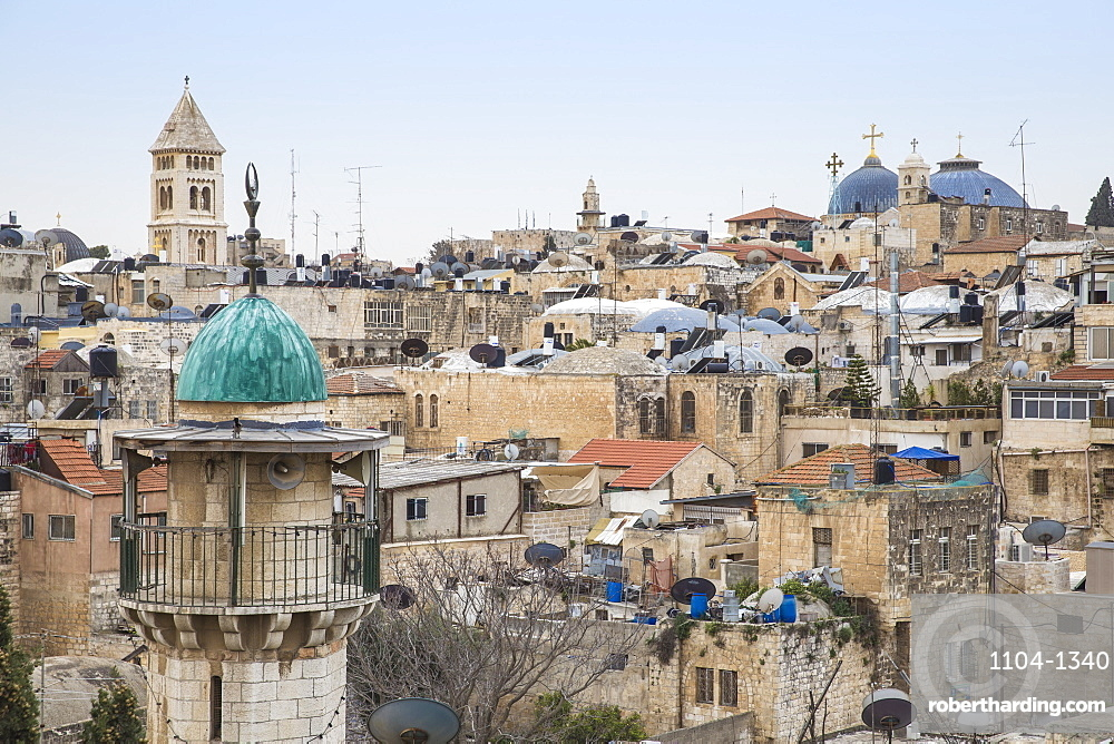 View of Muslim Quarter, Old City, UNESCO World Heritage Site, Jerusalem, Israel, Middle East