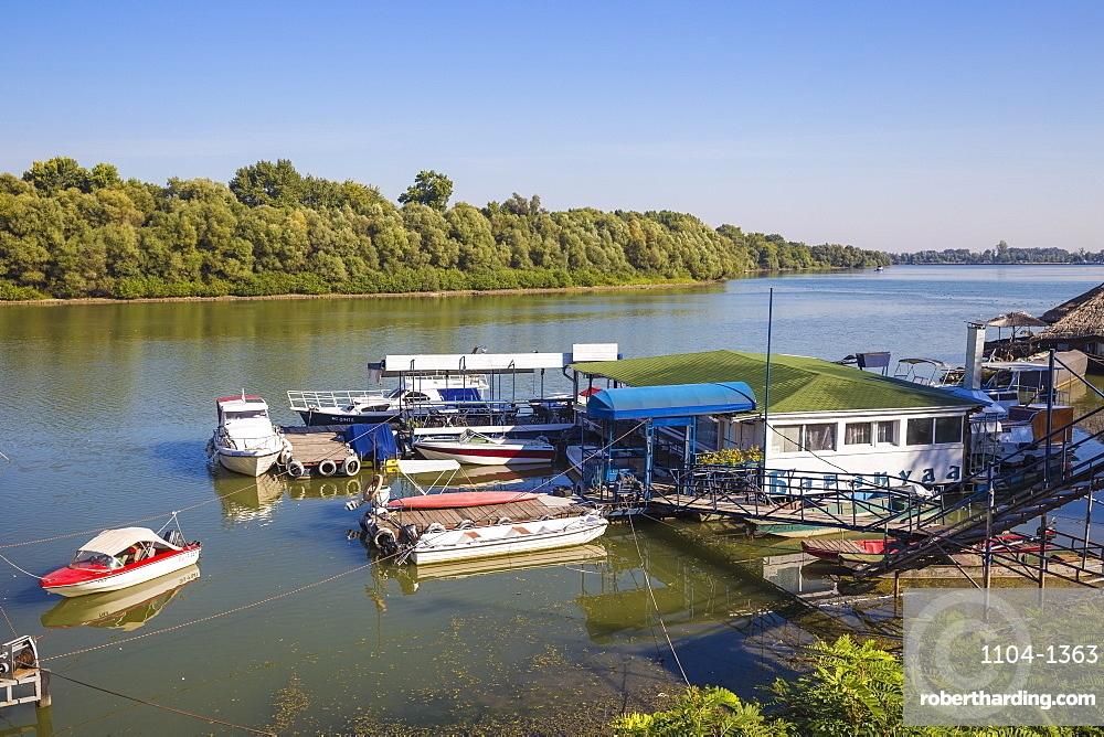 Floating restaurant and bars on the Danube River, Belgrade, Serbia, Europe