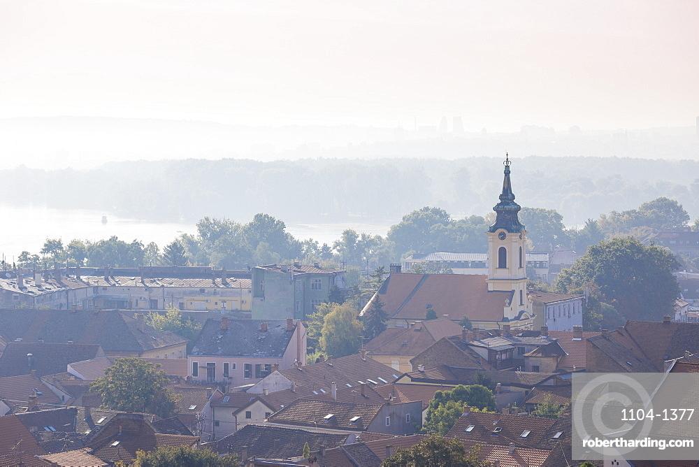 View of Zemun rooftops, Crkva Uznesenja blazene Djevice Marije Church and the Danube River, Zemun, Belgrade, Serbia, Europe