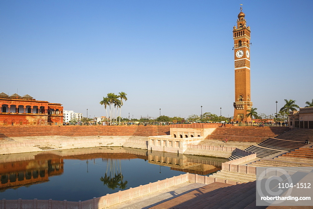 India, Uttar Pradesh, Lucknow, Hussainabad pond and Clock Tower