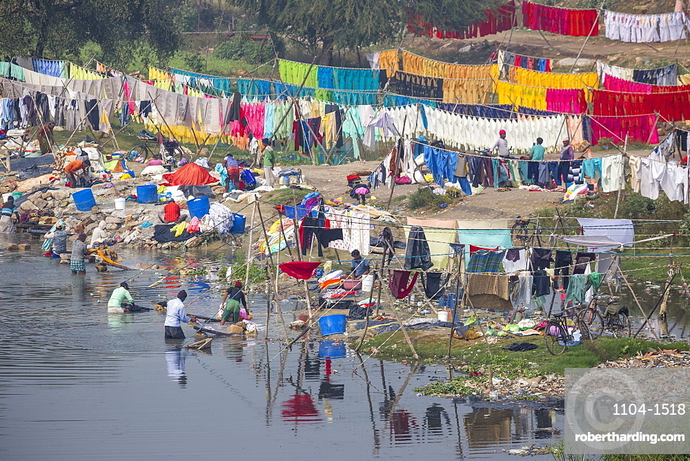 India, Uttar Pradesh, Lucknow, Laundry dying on banks of Gomti River