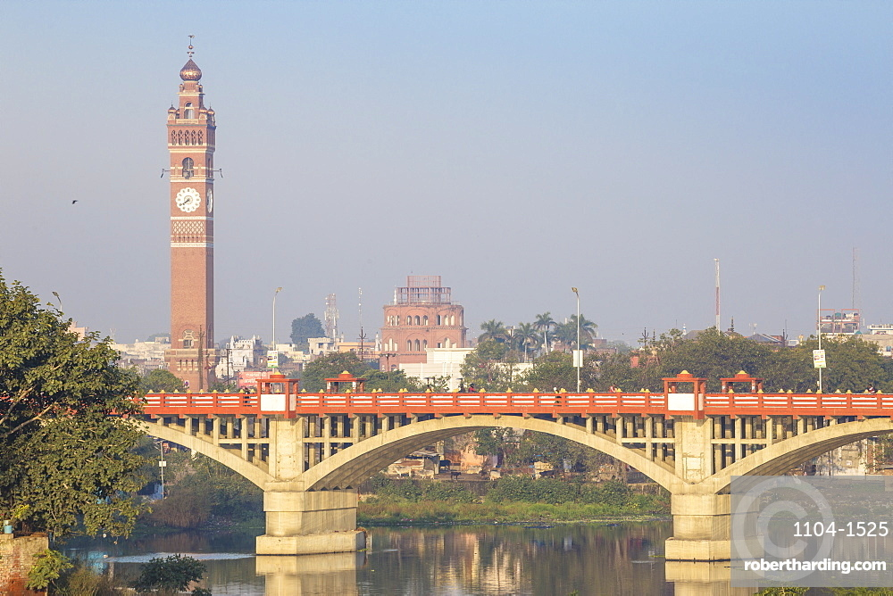 India, Uttar Pradesh, Lucknow, Bridge over Gomti River with Clock Tower in distance