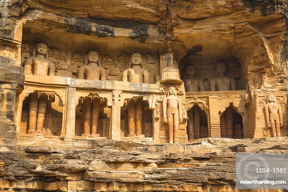 India, Madhya Pradesh, Gwalior, Jain Images cut into the cliff rock of Gwalior Fort