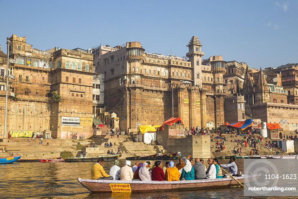 View towards Brijrama Palace Hotel at Darbanga Ghat, Varanasi, Uttar Pradesh, India, Asia