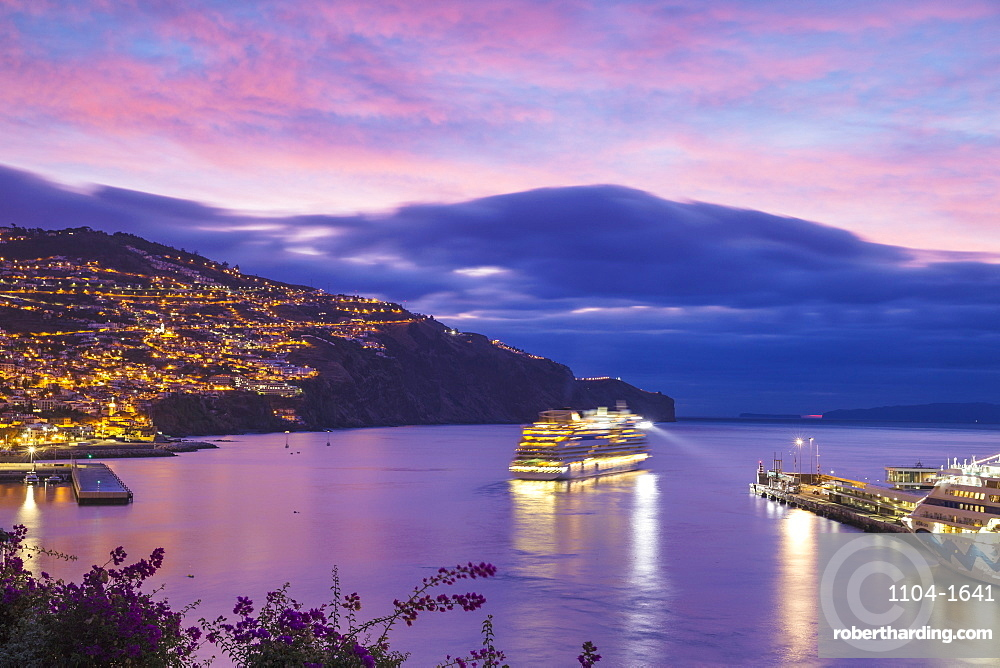 Cruise ship entering Funchal harbour at sunrise, Funchal, Madeira, Portugal, Atlantic, Europe