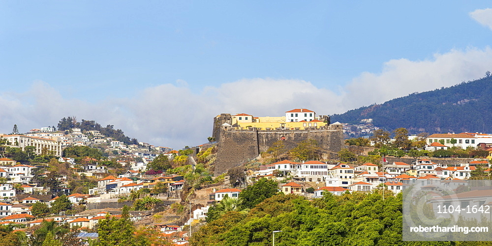 View towards Sao Joao Fort, Funchal, Madeira, Portugal, Atlantic, Europe