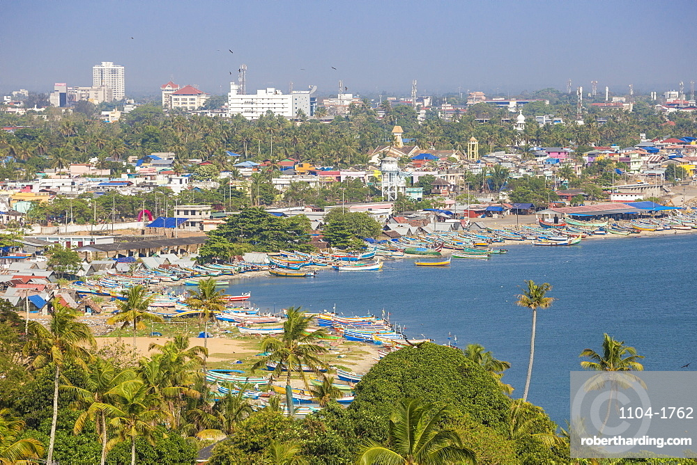 View of Kollam harbour and beach, Kollam, Kerala, India, Asia