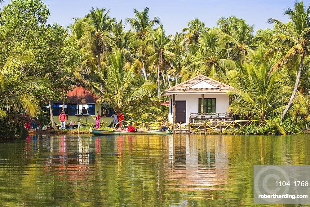 India, Kerala, Kollam, Resort on Munroe Island