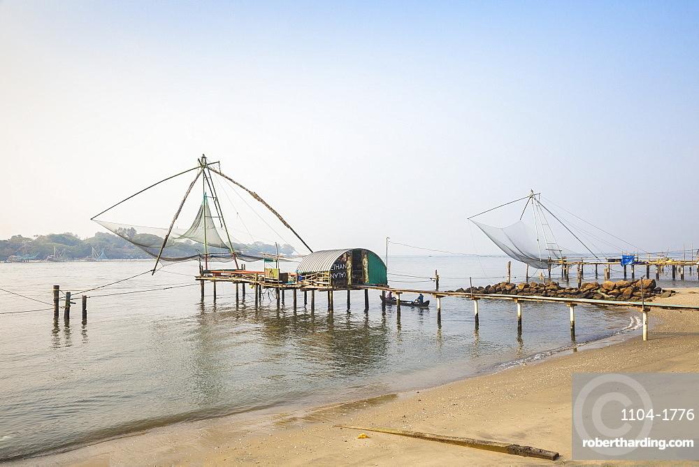 India, Kerala, Cochin - Kochi, Vipin Island, Chinese fishing nets