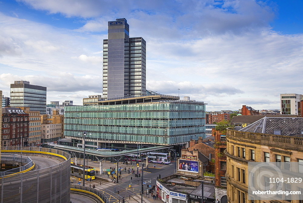 View looking over Arndale car park towards Studehill interchange, Manchester, England, United Kingdom, Europe
