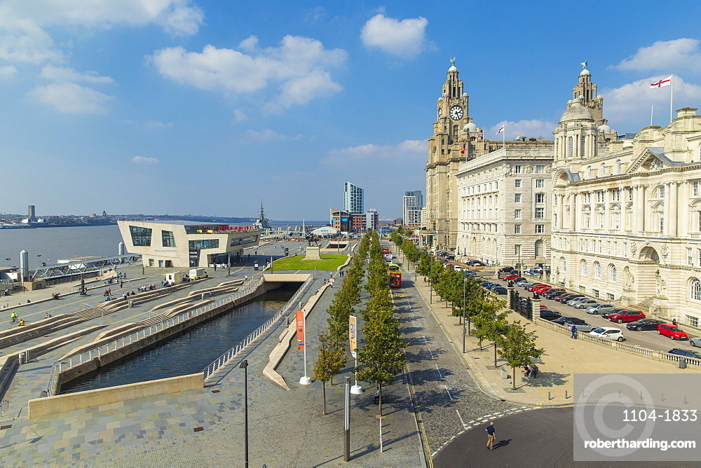 Pier Head, view of Mersey Ferry Terminal and the Three Graces Buildings, UNESCO World Heritage Site, Liverpool, Merseyside, England, United Kingdom, Europe