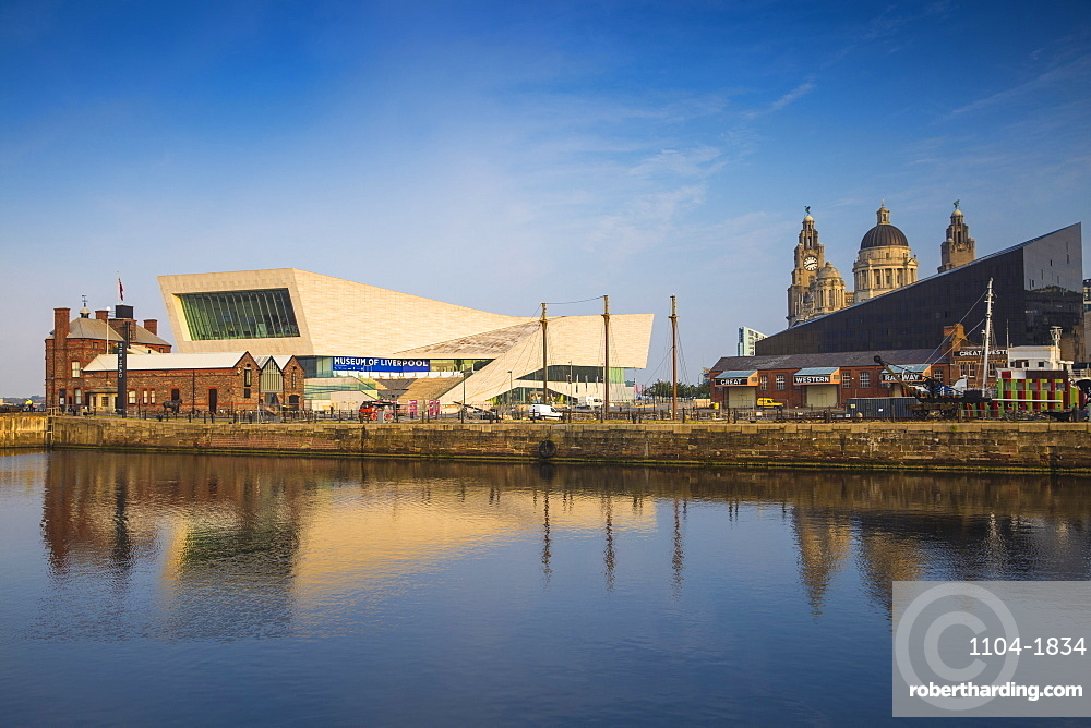 View of Pier Head buildings reflecting in Canning Dock, Liverpool, Merseyside, England, United Kingdom, Europe