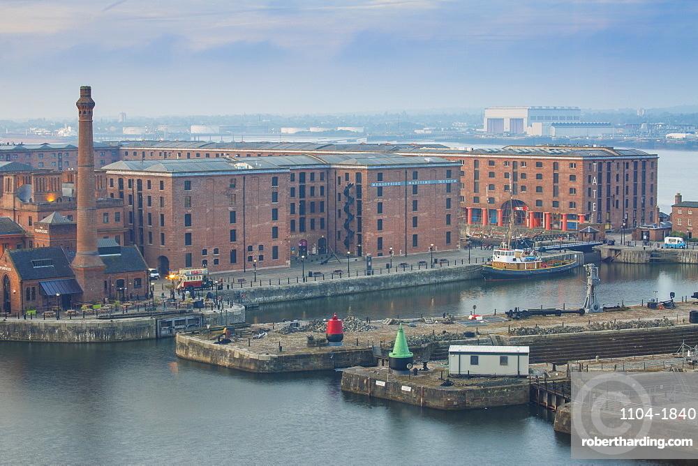 View of Albert Docks, UNESCO World Heritage Site, Liverpool, Merseyside, England, United Kingdom, Europe