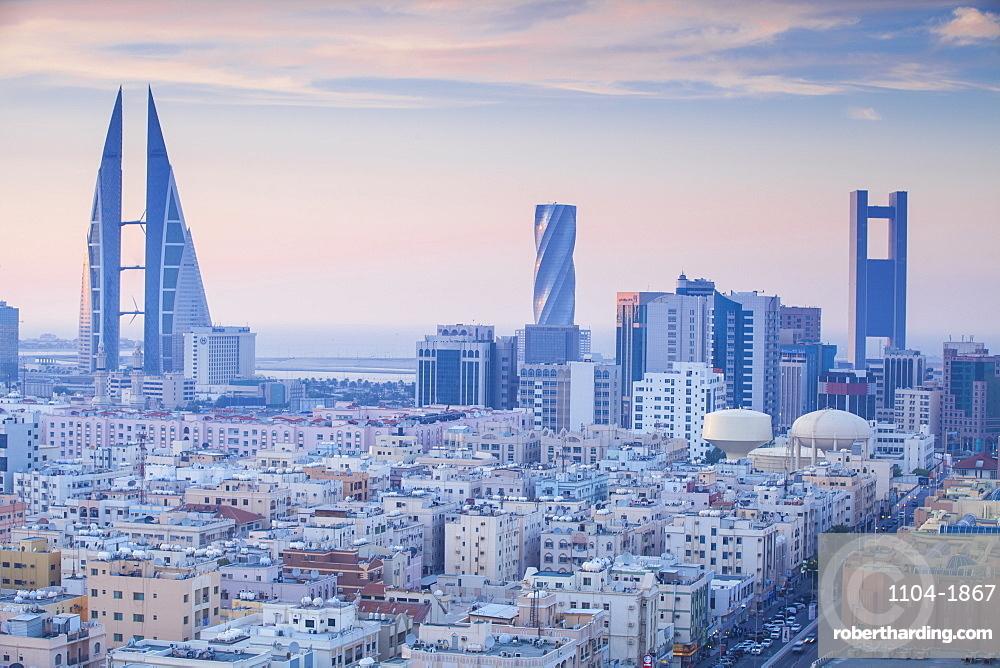 View of city skyline, Manama, Bahrain, Middle East