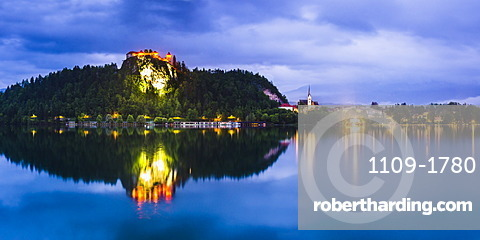 Light reflections in Lake Bled, Julian Alps, Gorenjska, Slovenia, Europe