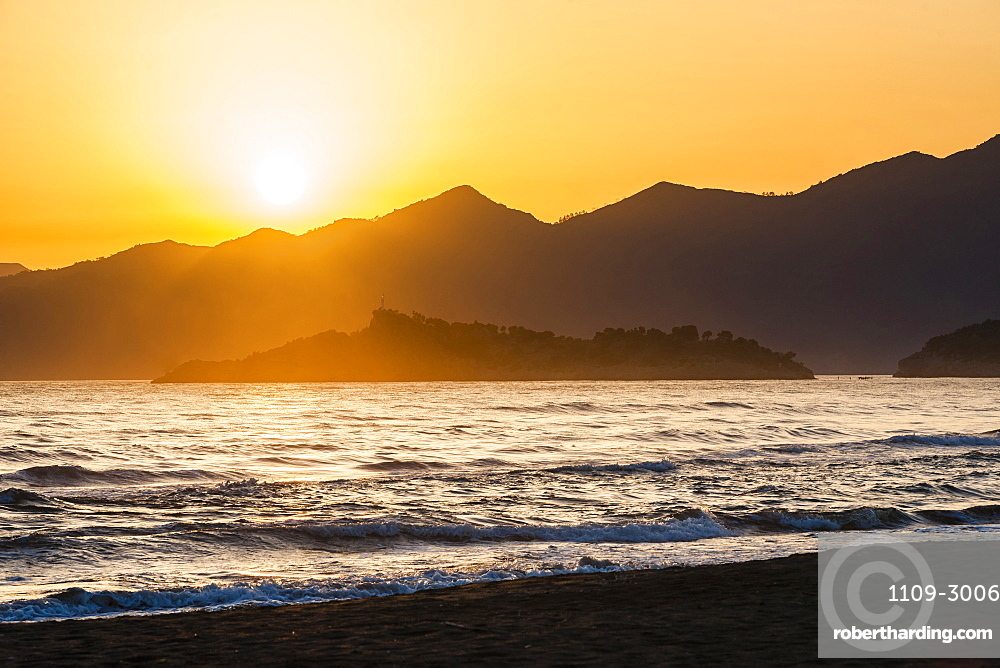 Iztuzu Beach at sunset, Dalyan, Mugla Province, Anatolia, Turkey, Asia Minor, Eurasia