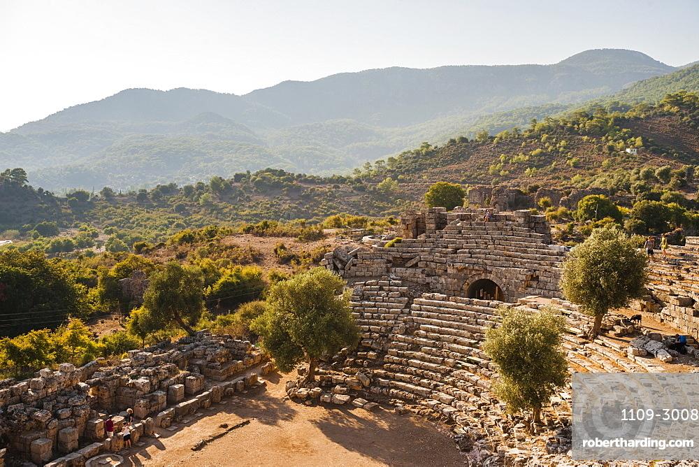 Amphitheatre at the ancient ruins of Kaunos, Dalyan, Mugla Province, Anatolia, Turkey, Asia Minor, Eurasia