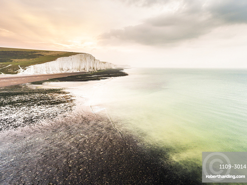 The Seven Sisters chalk cliffs, South Downs National Park, East Sussex, England, United Kingdom, Europe (Drone)