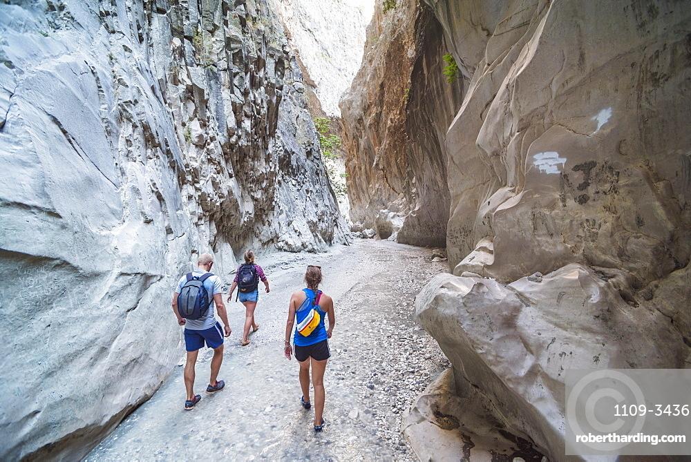 Tourists at Saklikent Gorge, Saklikent National Park, Fethiye Province, Lycia, Anatolia, Turkey, Asia Minor, Eurasia