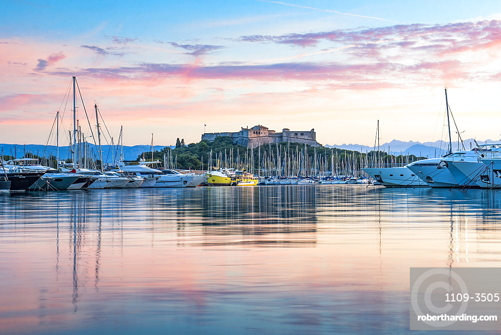 Fort Carre and Antibes Harbour at sunrise, Provence-Alpes-Cote d'Azur, French Riviera, France, Mediterranean, Europe