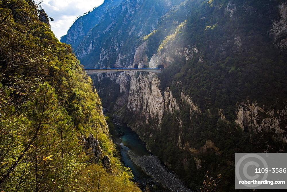 Bridge in Tara River Canyon Gorge, Durmitor National Park, UNESCO World Heritage Site, Montenegro, Europe