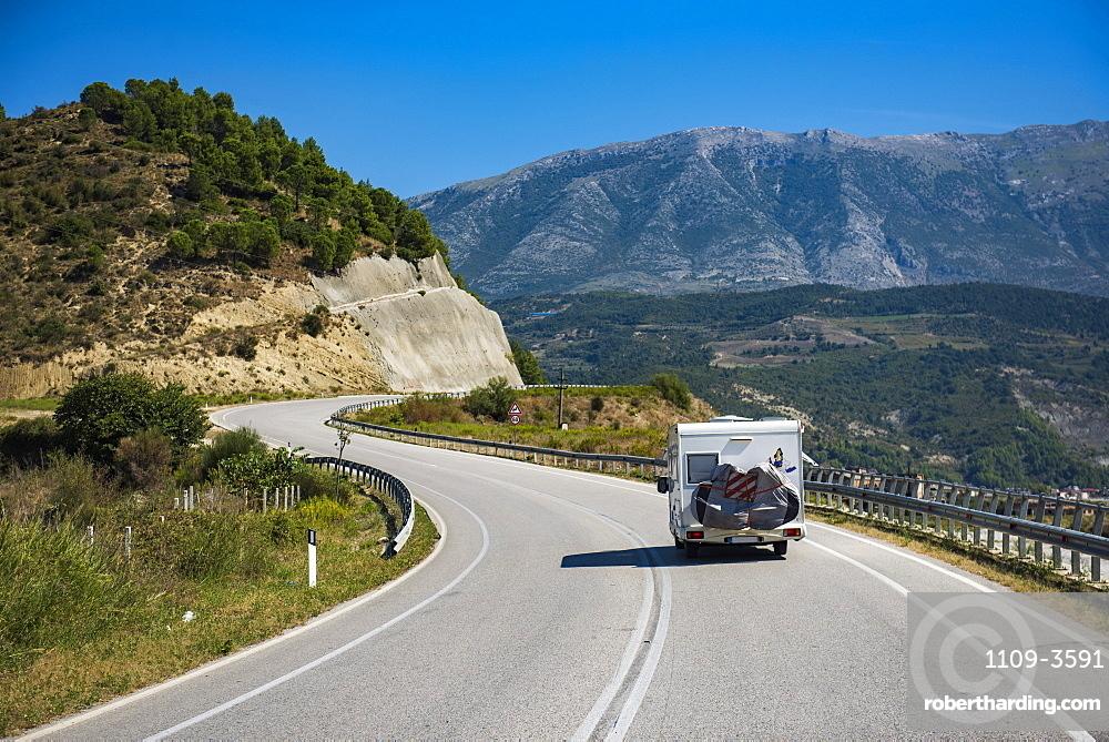 Driving a caravan through Albania, Europe