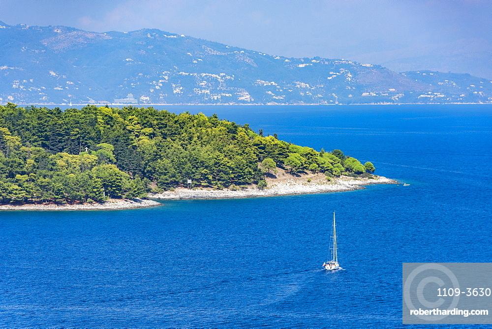 Yacht sailing by Corfu, Greece, Europe