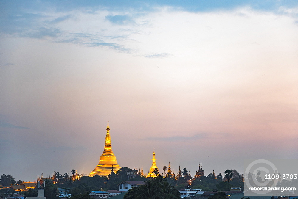 Shwedagon Pagoda at sunset, Yangon (Rangoon), Myanmar (Burma), Asia