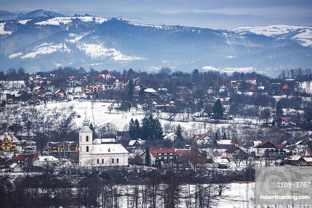Carpathian Mountains winter landscape, Bran, Transylvania, Romania, Europe