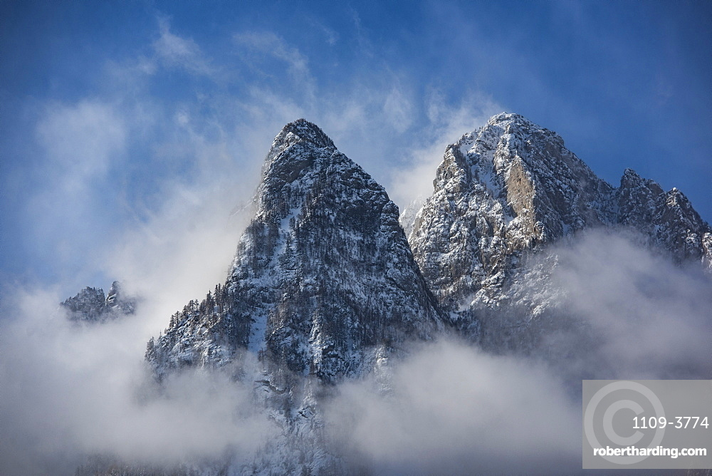 Winter landscape of Bucegi Mountains, Carpathian Mountains, Sinaia, Romania, Europe