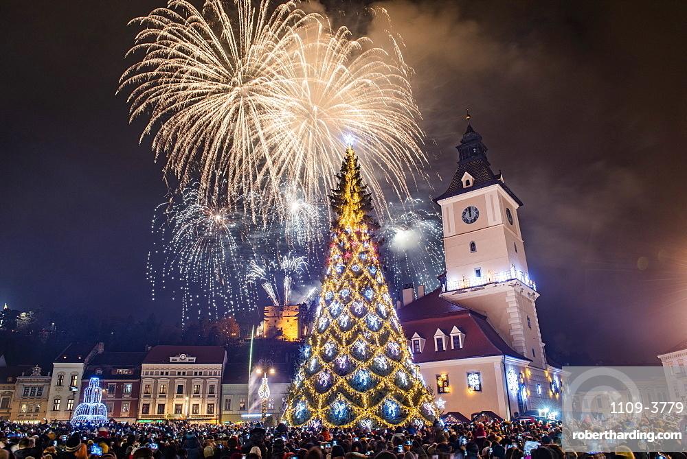 Fireworks over Brasov main square on New Years Eve, Brasov, Brasov County, Romania, Europe