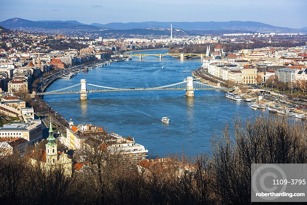 View of River Danube from Gellert Hill, Budapest, Hungary, Europe