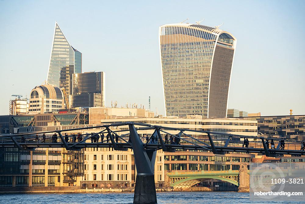 Millennium Bridge and Walkie Talkie building in The City of London, London, England, United Kingdom, Europe