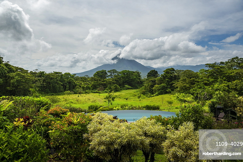 Arenal Volcano seen from Arenal Lodge, Alajuela Province, Costa Rica, Central America