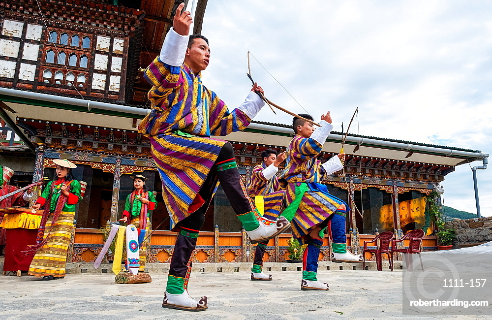 Bhutanese people performing the masked Cham Dance, Paro.