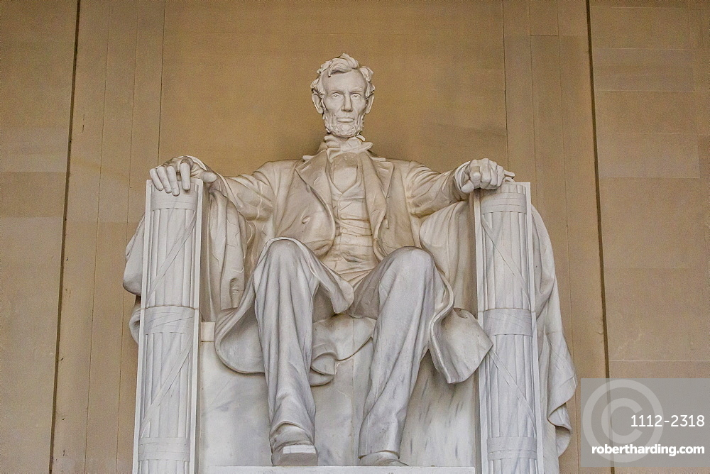 Interior view of the Lincoln statue in the Lincoln Memorial, Washington D.C., United States of America, North America