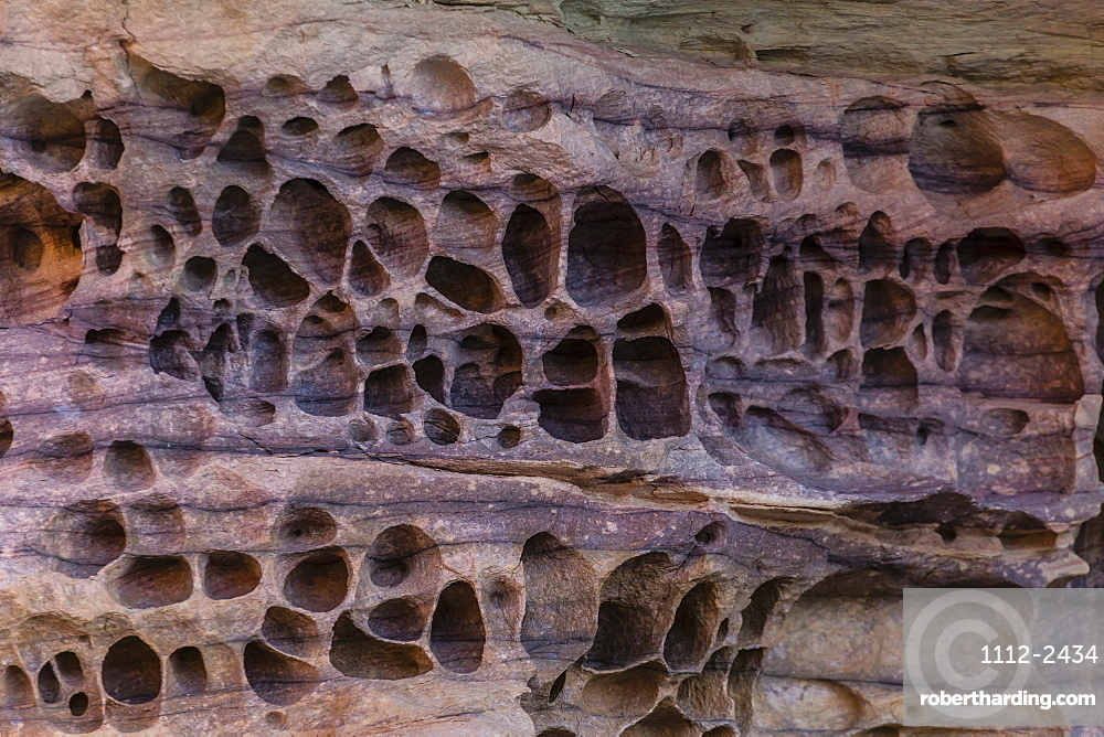 Detail of wind and water erosion in the sandstone cliffs of the King George River, Koolama Bay, Kimberley, Western Australia, Australia, Pacific