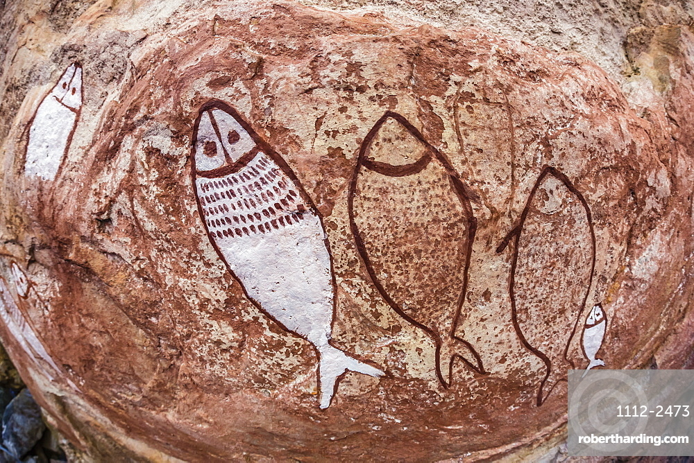 Aboriginal Wandjina cave artwork in sandstone caves at Raft Point, Kimberley, Western Australia, Australia, Pacific