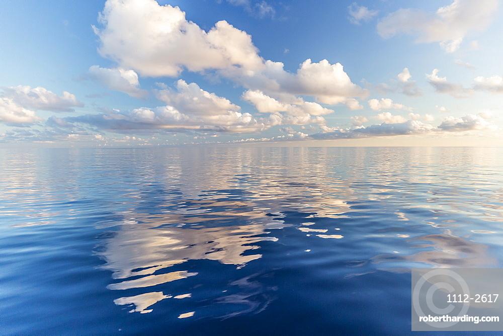 Reflected clouds in calm seas near the island of Deserta Grande, in the Ilhas Desertas, near Funchal, Madeira, Portugal, Atlantic, Europe