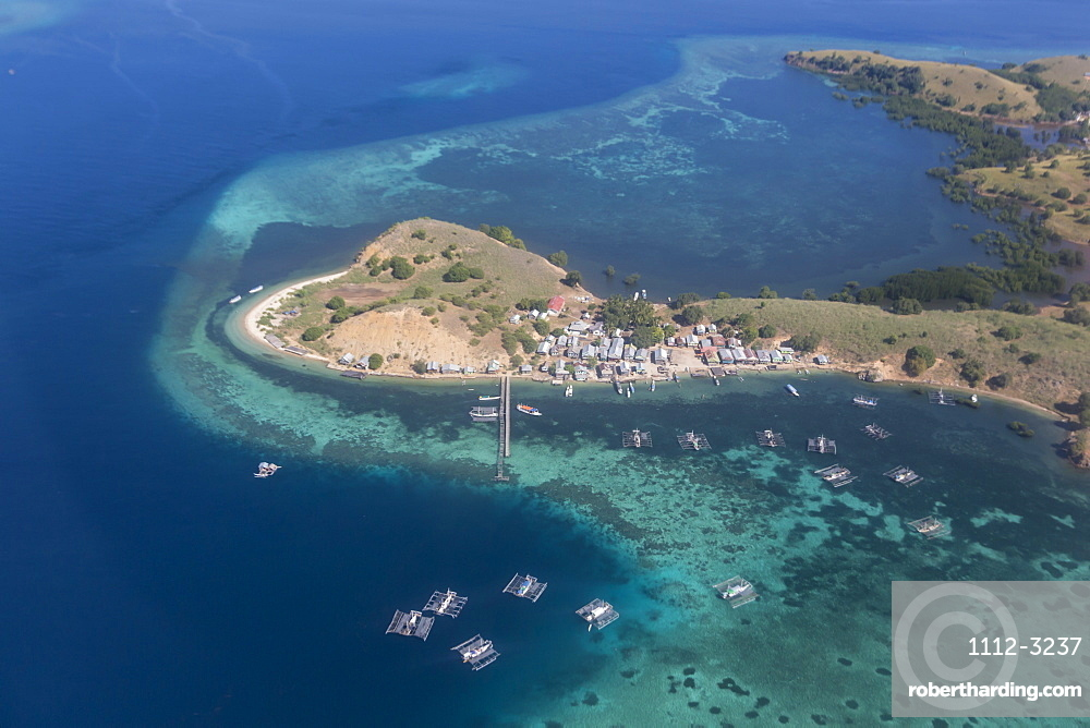Aerial view of Flores Island from a commercial flight, Flores Sea, Indonesia, Southeast Asia, Asia