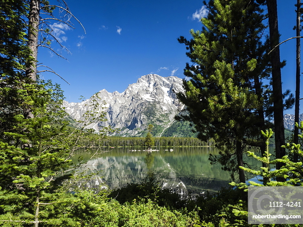Snow-capped mountains reflected in the calm waters of Leigh Lake, Grand Teton National Park, Wyoming, United States of America, North America