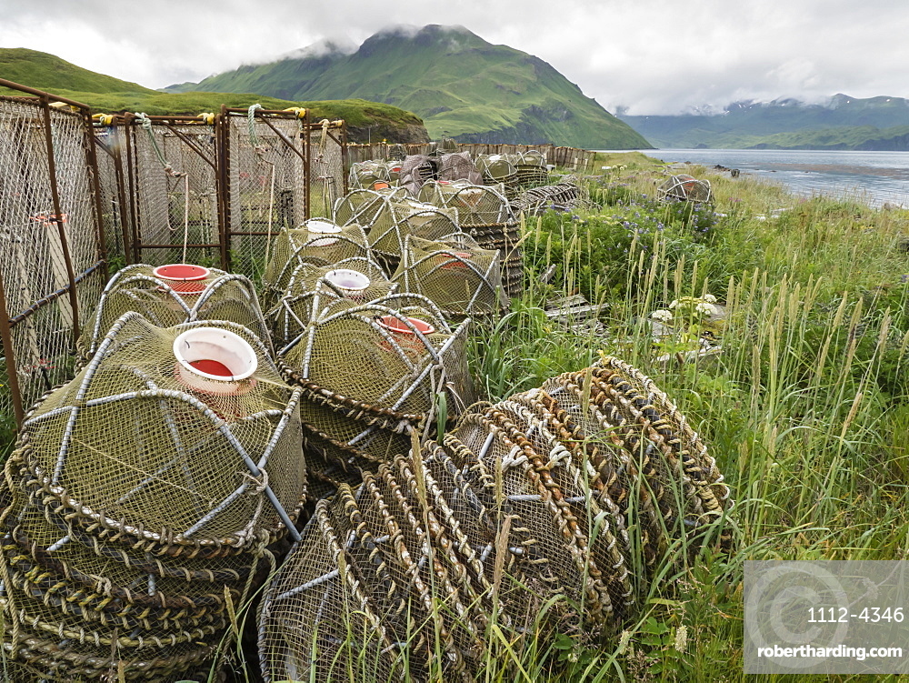Crab fishing pots being stored at the dock in Dutch Harbor in the community of Unalaska, Alaska, United States of America, North America