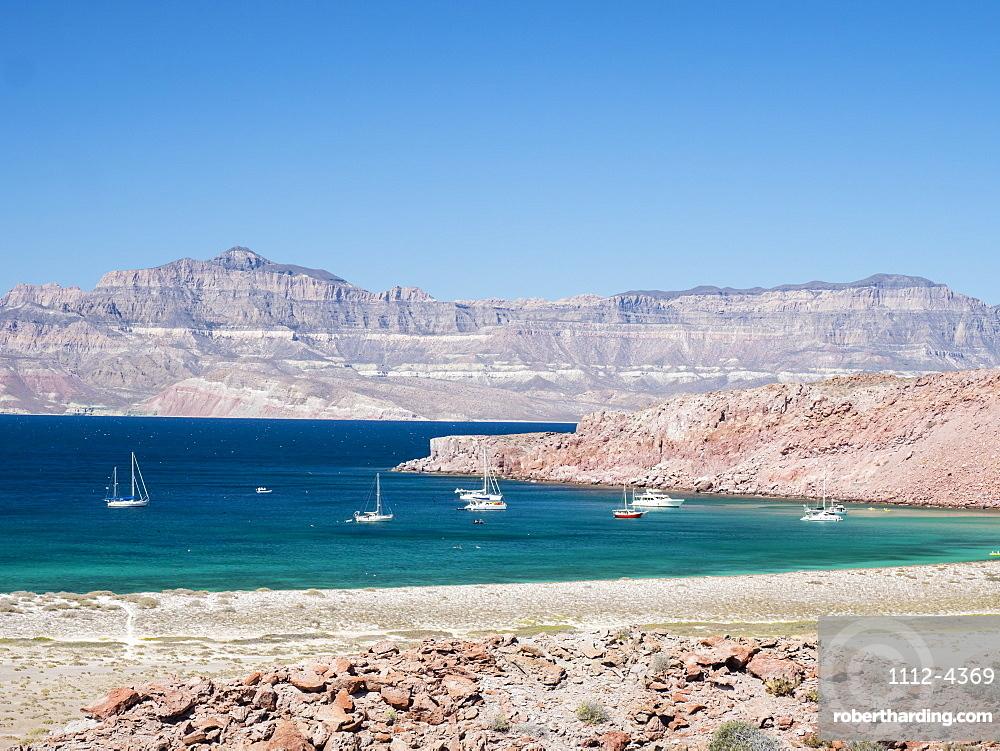 The protected natural harbor at Isla San Francisco, Baja California Sur, Mexico, North America