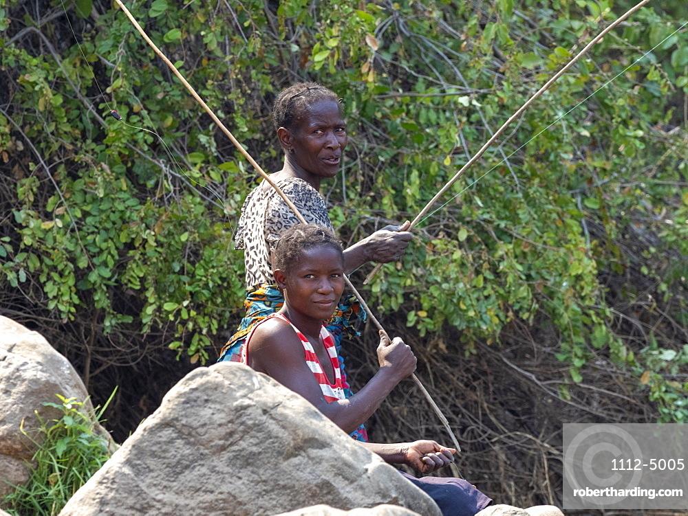 Fisherman on the lower Zambezi River, Zimbabwe, Africa