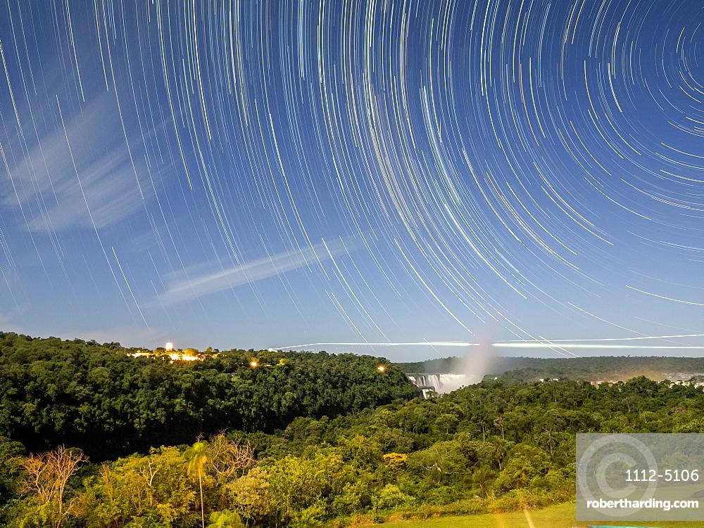 Star trails at Iguacu Falls, Misiones Province, Argentina, South America